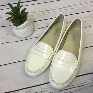 Michael Kors White Leather Loafers, Size 8.5